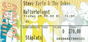 000829 - Biljett - Steve Earle