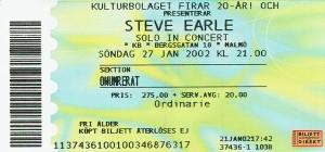 020127 - Biljett - Steve Earle