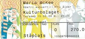 030515 - Biljett - Maria McKee