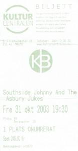 031031 - Biljett - Southside Johnny