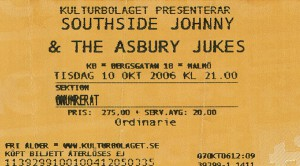 061010 - Biljett - Southside Johnny