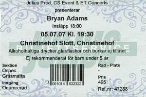 070705 - Biljett - Bryan Adams