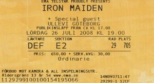 080726 - Biljett - Iron Maiden