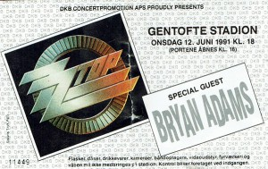 910612 - Biljett - ZZ Top & Bryan Adams