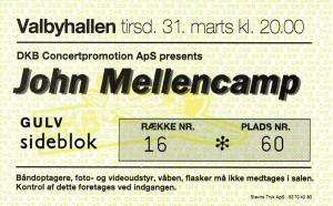 920331 - Biljett - John Mellencamp
