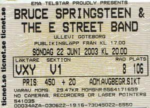 030622 - Biljett - Bruce Springsteen