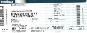 090604 - Biljett - Bruce Springsteen