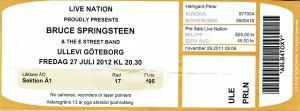 120727 - Biljett - Bruce Springsteen