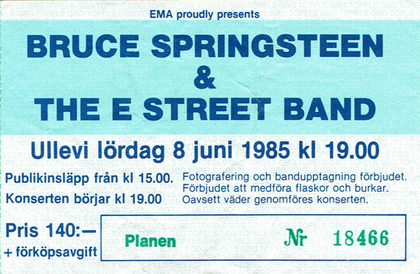 850608 - Biljett - Bruce Springsteen
