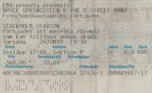 990624 - Biljett - Bruce Springsteen